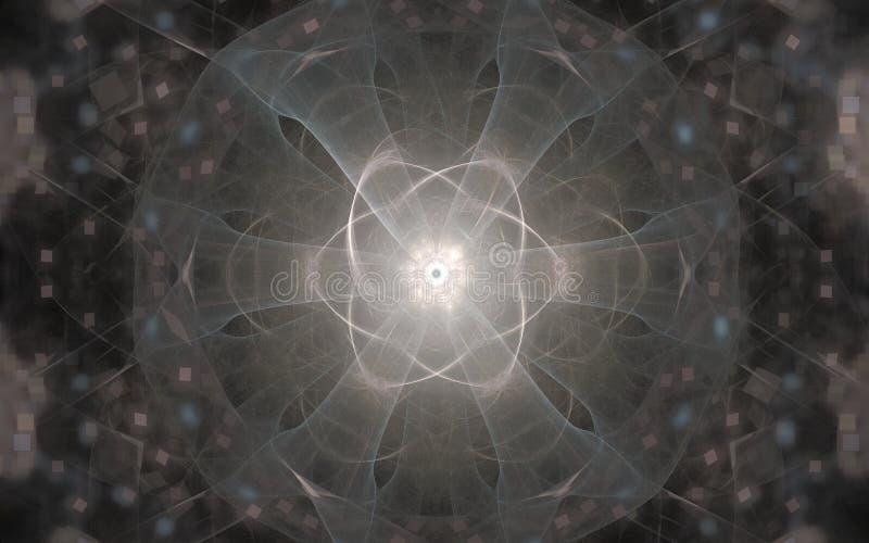 Imagem de fundo de um símbolo fantástico de incandescência de cinzento e de bege com seis raios em um fundo borrado com quadrados ilustração stock