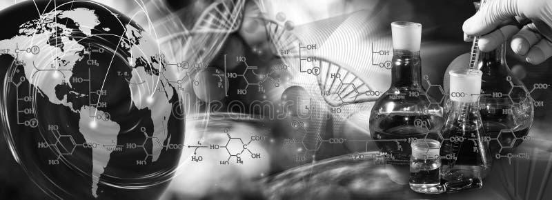 imagem de garrafas médicas no close up genético do fundo foto de stock