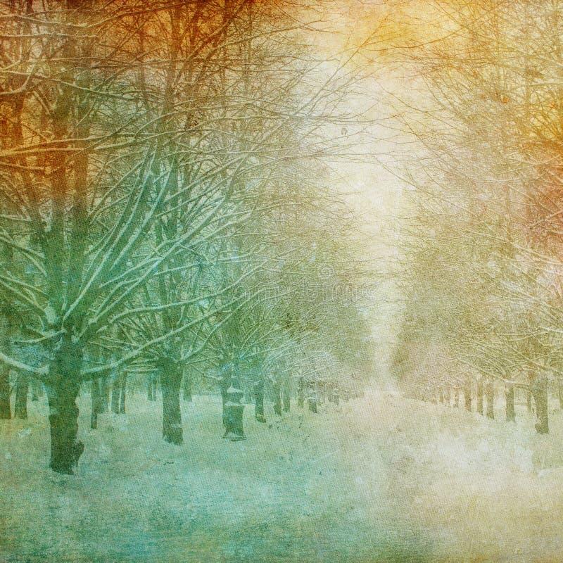 Imagem de Grunge da paisagem do inverno ilustração do vetor