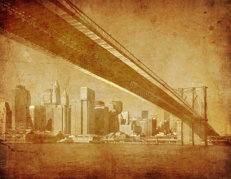 Imagem de Grunge da ponte de Brooklyn, New York, EUA fotografia de stock