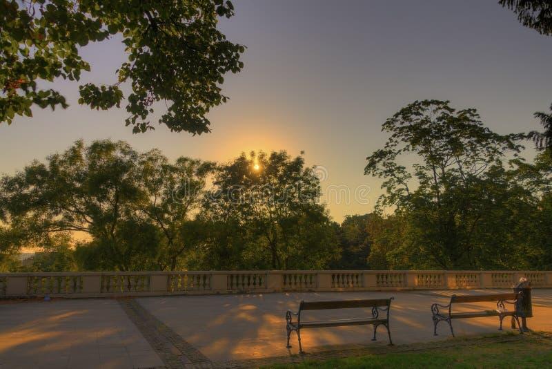 Imagem de HDR de um sol que estabelece na noite atrás das árvores em um parque com os bancos velhos confortáveis no primeiro plan imagem de stock royalty free