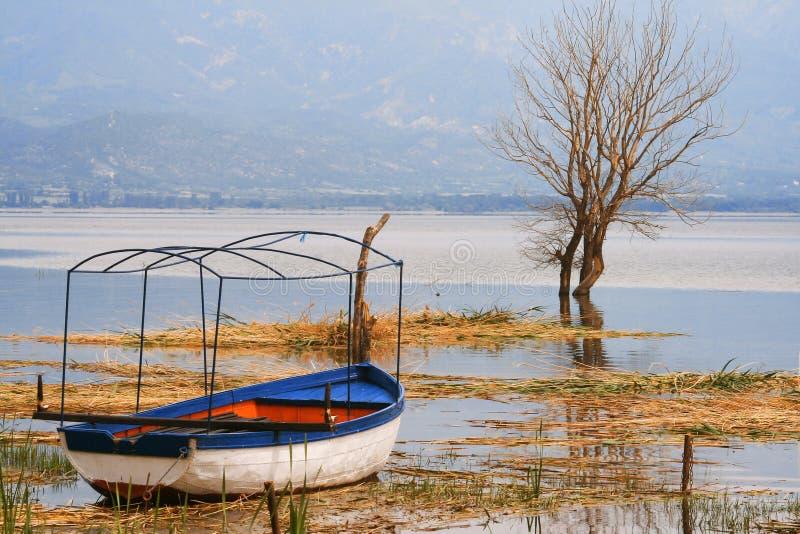 Imagem de HDR do lago Dojran fotografia de stock royalty free