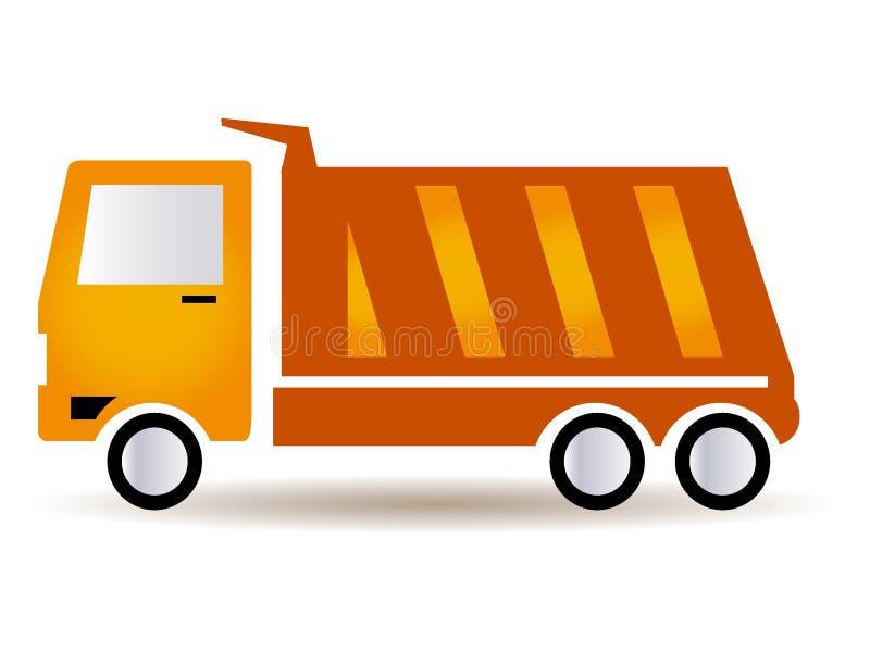 Imagem de um caminhão alaranjado da construção ilustração royalty free