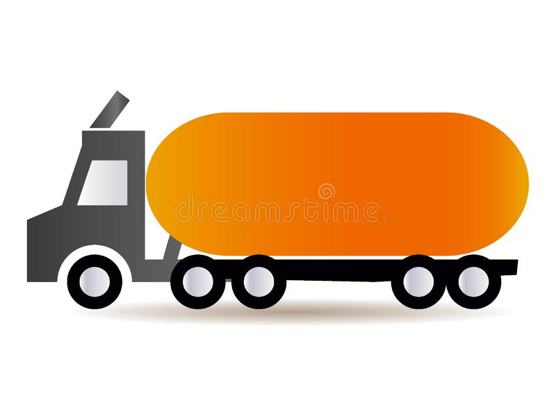 Imagem de um caminhão de petroleiro alaranjado ilustração royalty free