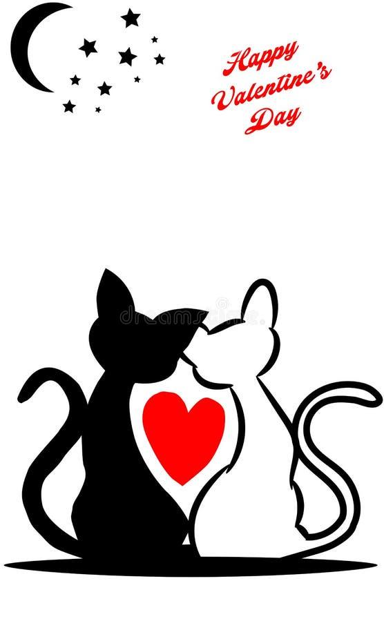 imagem de um cartão com os gatos bonitos no amor que arrulham sob a lua ilustração royalty free