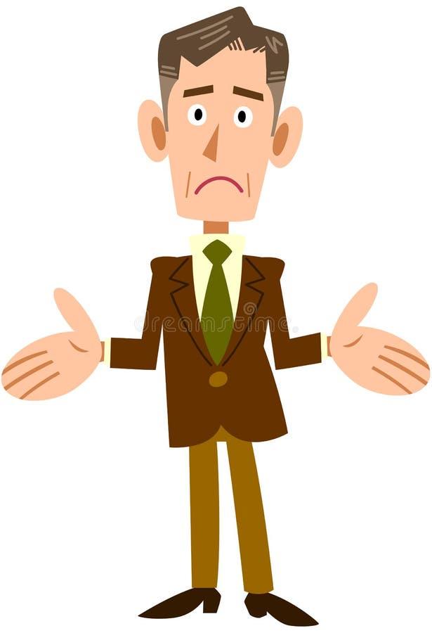A imagem de um homem de negócios superior dá uma encolho de ombros ilustração royalty free