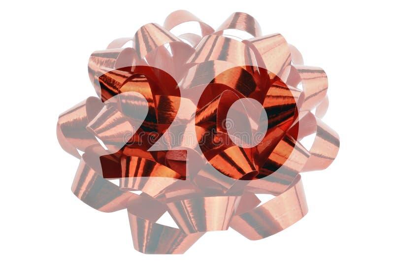 Imagem de um laço iluminado do presente feito da fita vermelha do presente com número transparente 20 na cor original fotografia de stock