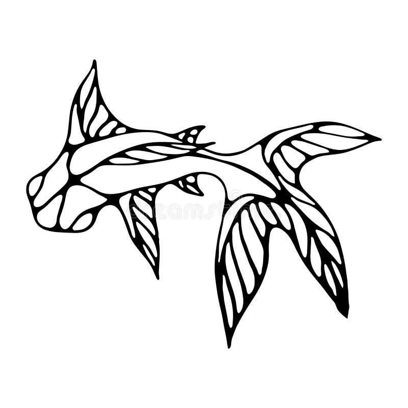 Imagem de um peixe com as grandes aletas no estilo desenhado à mão ilustração do vetor