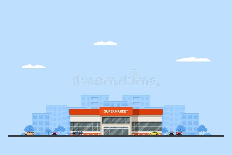 Imagem de uma construção do supermercado ilustração do vetor