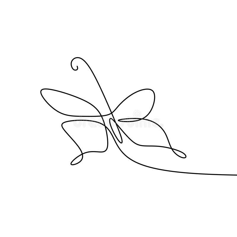 imagem de uma linha contínua de animais minimalistas da borboleta ilustração do vetor