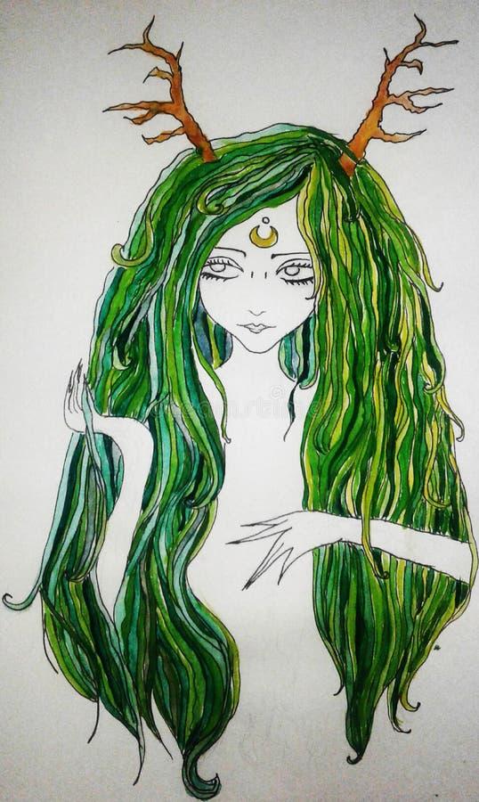 Imagem de uma menina com cabelo e os chifres verdes de um cervo em sua cabeça, com uma lua em sua testa ilustração royalty free