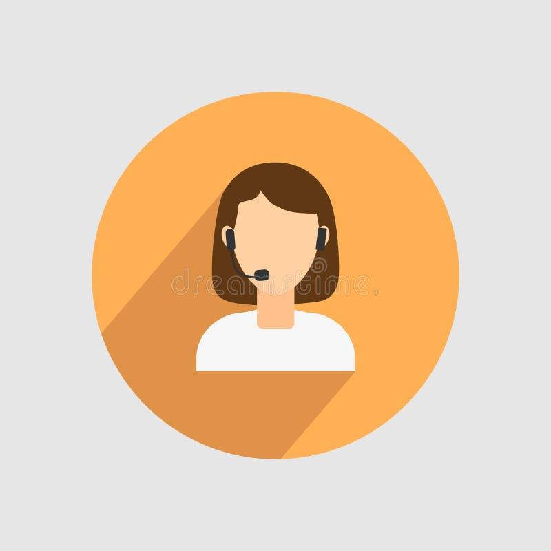 Imagem de uma menina, com os fones de ouvido em sua cabeça, no círculo Ilustração do vetor ilustração do vetor