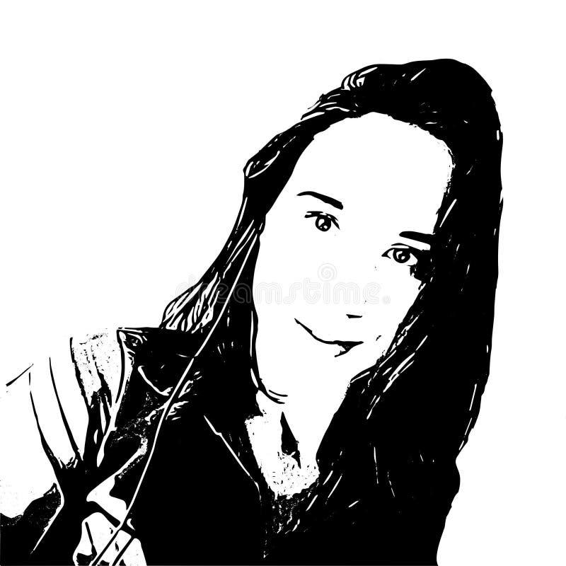 Imagem de uma menina no estilo preto e branco ilustração royalty free