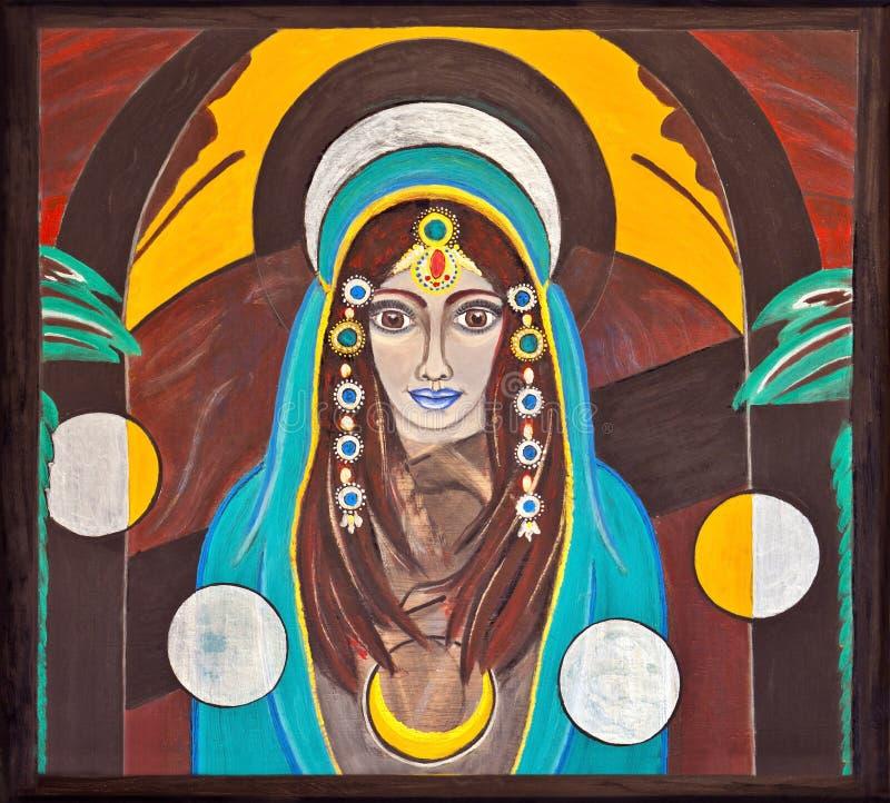 Imagem de uma mulher oriental, santamente e espiritual ilustração royalty free