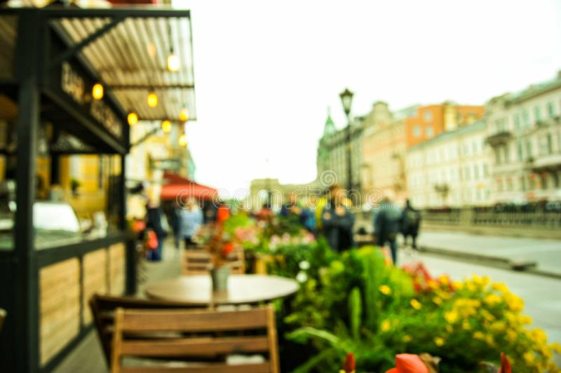 Imagem Defocused do café da rua imagem de stock royalty free