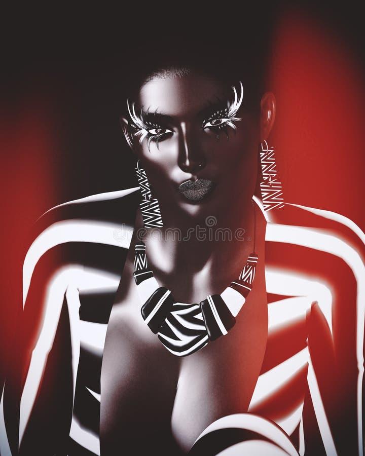 Imagem digital moderna da cara de uma mulher, fim da arte acima com fundo abstrato colorido ilustração royalty free