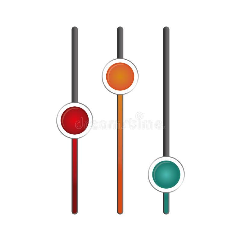 Imagem do ícone dos reguladores dos ajustes ilustração do vetor