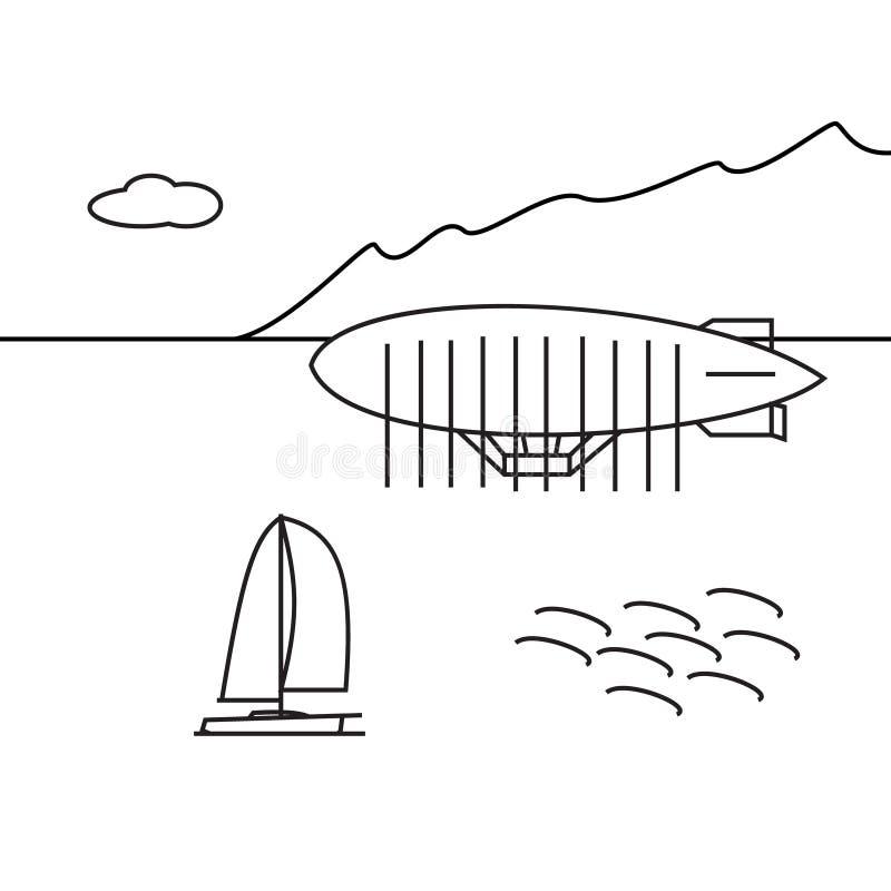 Imagem do aerostat do esboço, árvores, montanha ilustração stock