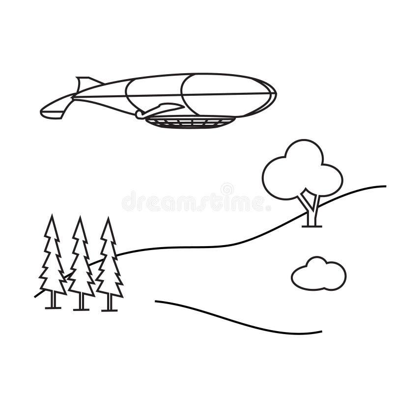 Imagem do aerostat do esboço, árvores, montanha ilustração do vetor