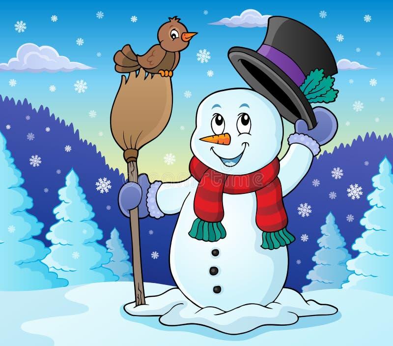 Imagem 2 do assunto do boneco de neve do inverno ilustração royalty free