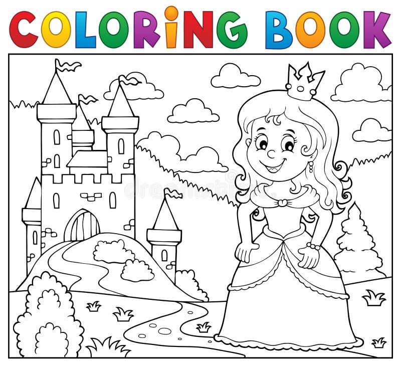 Imagem 1 do assunto da princesa do livro para colorir ilustração stock