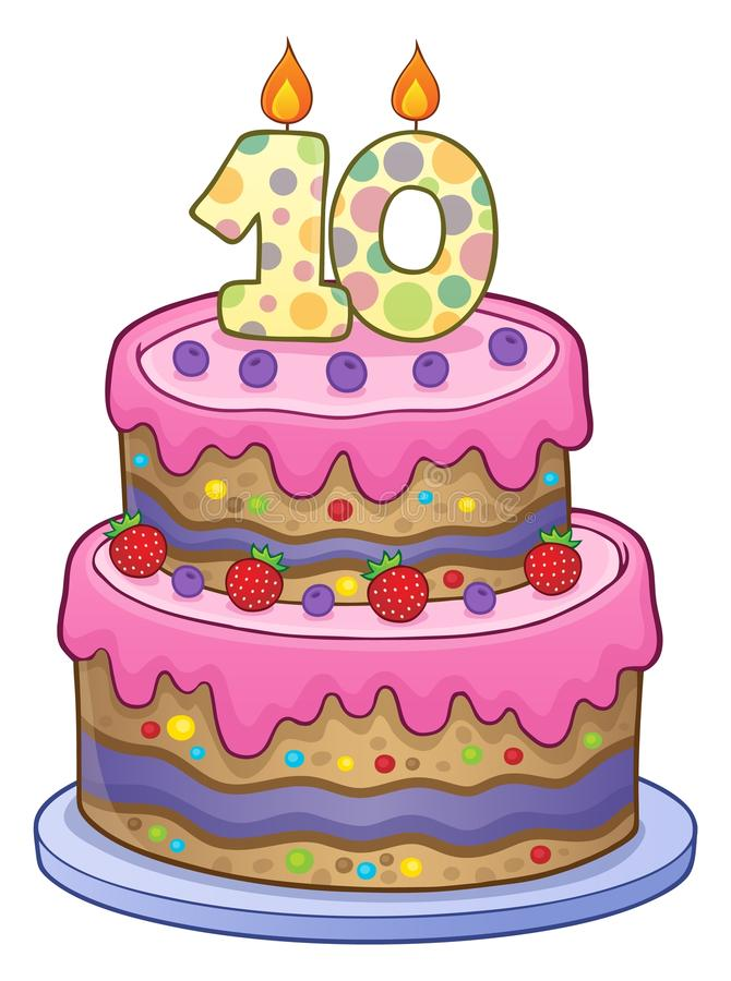 Imagem do bolo de aniversário por 10 anos velho ilustração do vetor