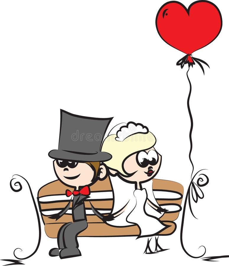 Imagem do casamento dos desenhos animados ilustração do vetor