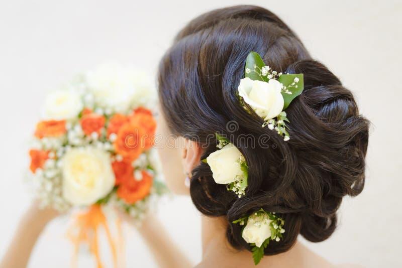 Imagem do close up de um penteado nupcial imagem de stock royalty free