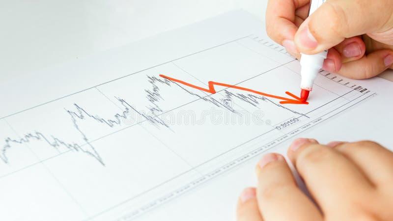 Imagem do close up do gráfico de diminuição do desenho do analista do negócio na carta conservada em estoque das vendas fotografia de stock
