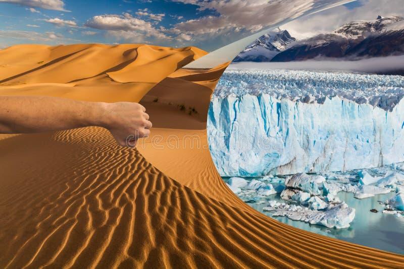 Imagem do conceito do aquecimento global O deserto esconde uma paisagem verde bonita fotografia de stock royalty free
