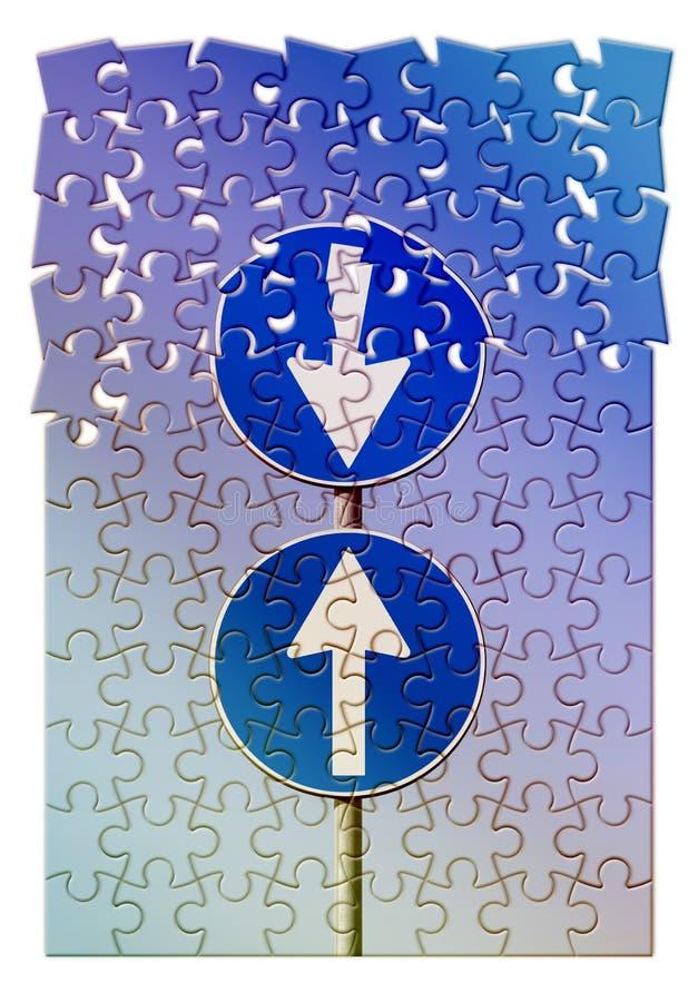 Imagem do conceito da contradi??o com de estrada dos sinais forma do enigma do jugsaw dentro fotografia de stock royalty free