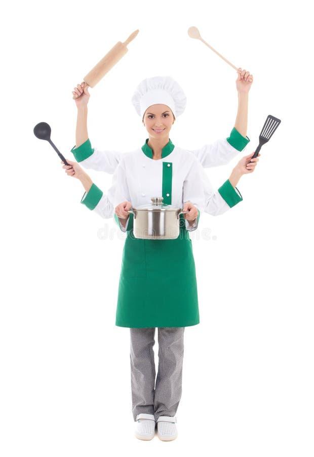 Imagem do conceito da mulher atrativa no uniforme do cozinheiro chefe com seis han fotos de stock royalty free