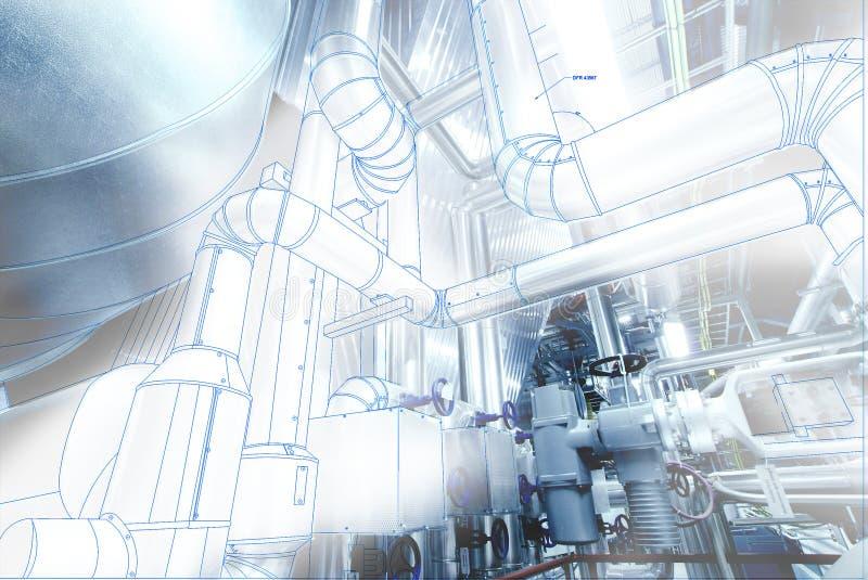 Imagem do conceito de projeto do cad do computador de Wireframe encanamento industrial mim fotos de stock