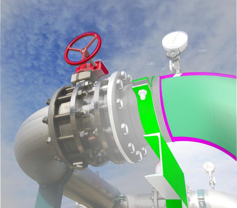 Imagem do conceito de projeto do cad do computador de Wireframe encanamento industrial mim foto de stock