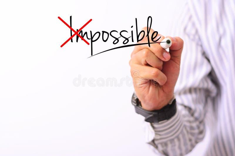 A imagem do conceito do negócio de uma mão que guarda o marcador e escreve possível isolado acima no branco fotos de stock