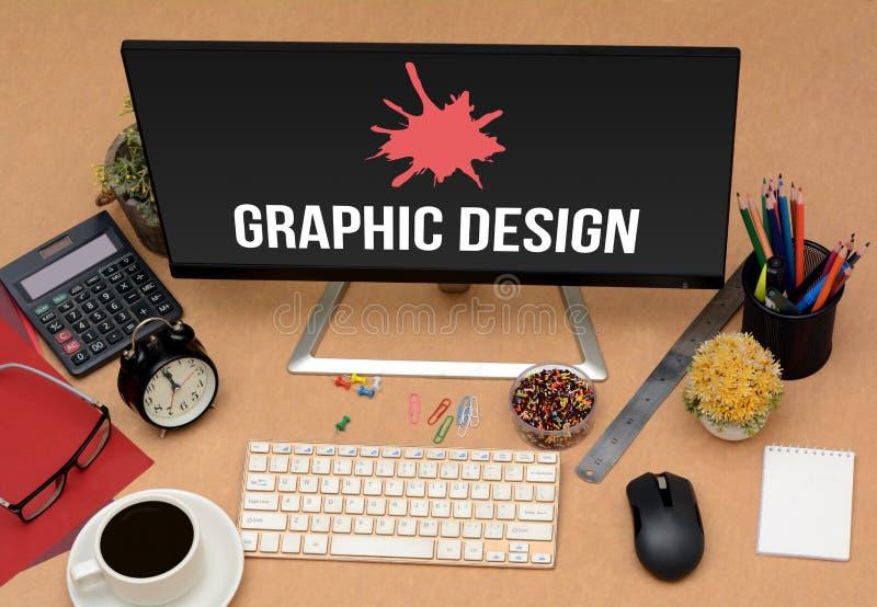 Imagem do conceito do escritório de projeto gráfico com artigos do stationey imagens de stock royalty free