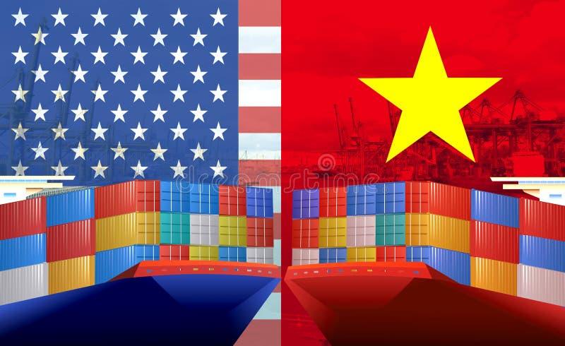 Imagem do conceito EUA - guerra comercial do Vietname, conflito econômico, fricções comerciais fotos de stock royalty free