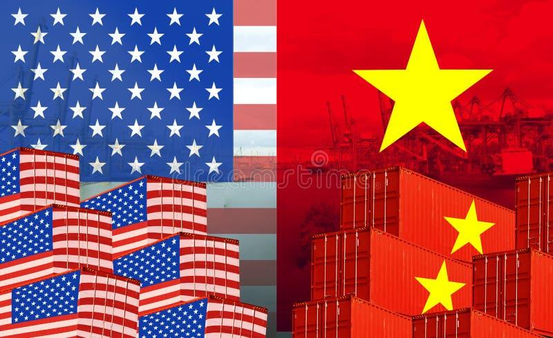 Imagem do conceito EUA - guerra comercial do Vietname, conflito econômico, fricções comerciais imagens de stock