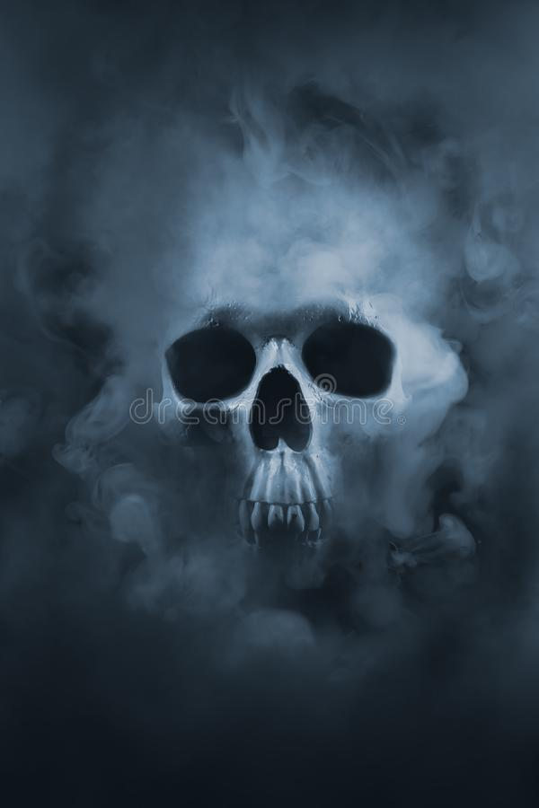 Imagem do contraste alto de um crânio em uma nuvem de fumo foto de stock royalty free