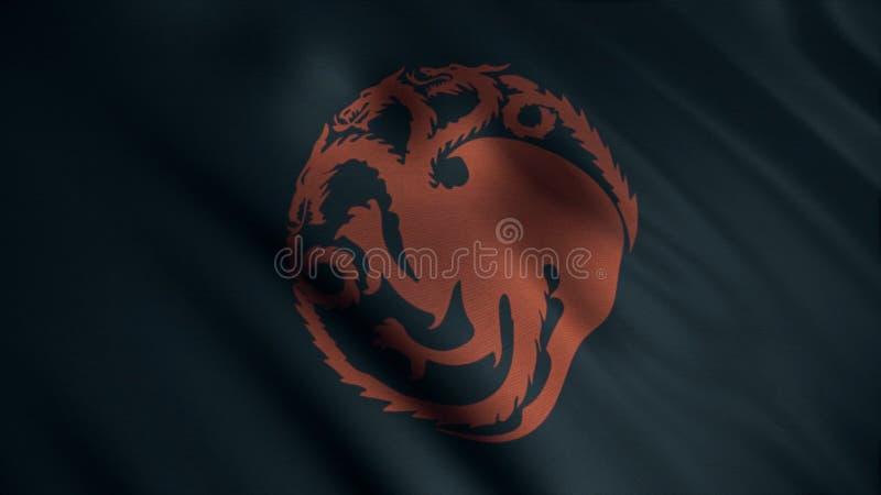 Imagem do dragão três-dirigido vermelho torcido no círculo no fundo da bandeira negra tornando-se animation Emblema da casa ilustração do vetor