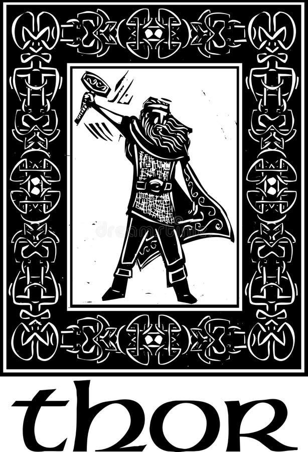 Thor do deus dos noruegueses com beira ilustração stock