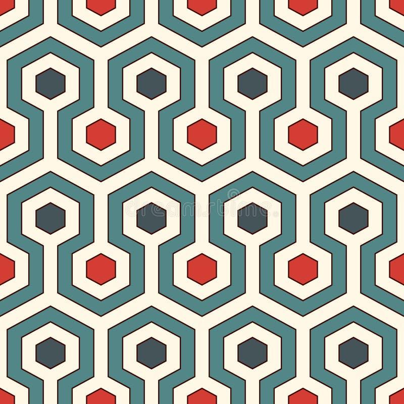 Imagem do favo de mel Background As cores retros repetiram o papel de parede das telhas do hexágono Teste padrão sem emenda com o ilustração do vetor
