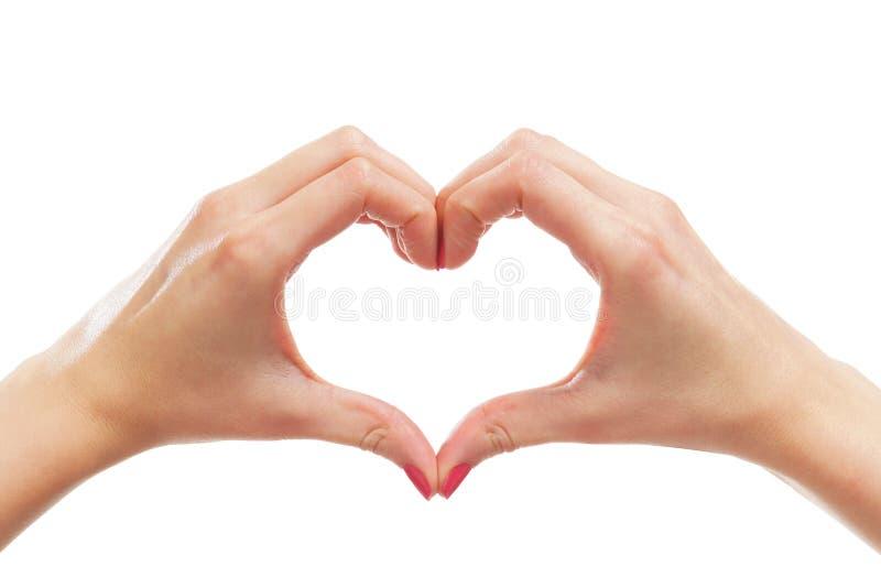 Imagem do Fim-acima das mãos fêmeas em uma forma de um coração foto de stock