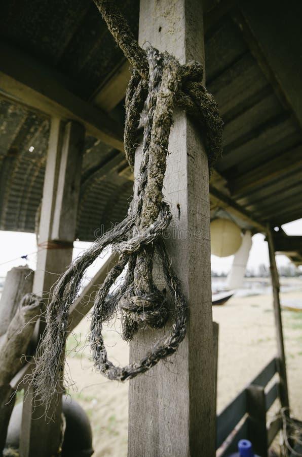 imagem do foco ascendente e seletivo do fim uma corda amarrada ao polo de madeira fotos de stock