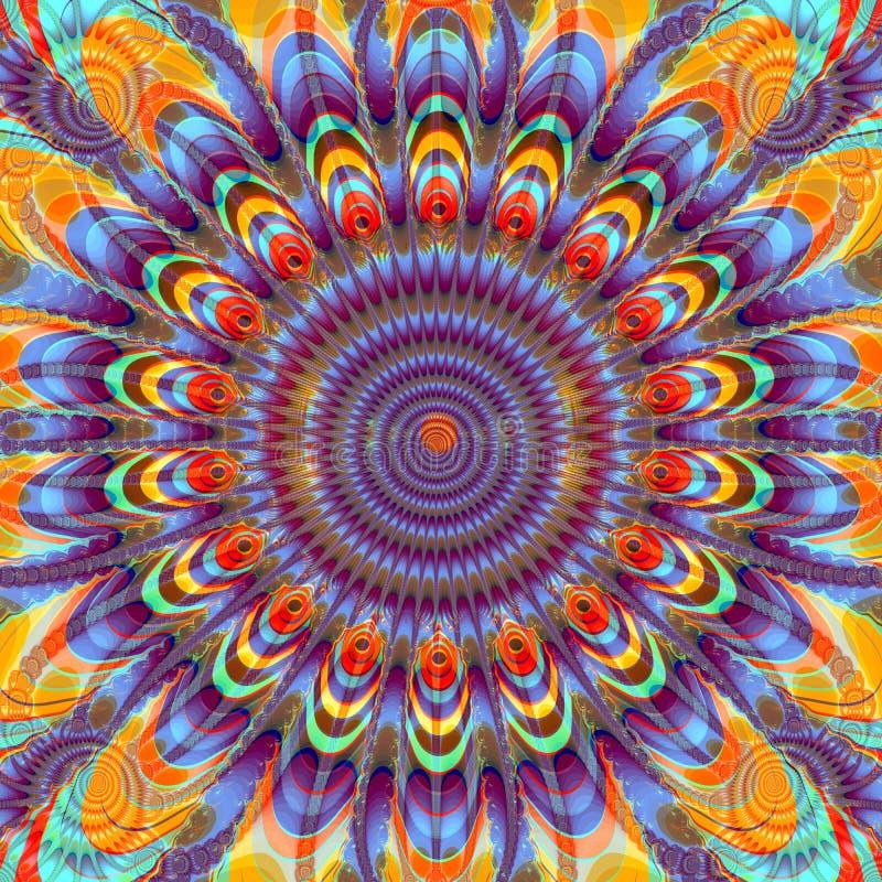 Imagem do Fractal das penas do sol e do pavão ilustração stock