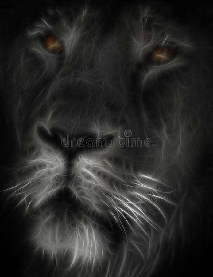 Imagem do Fractal de um focinho de um leão africano selvagem com olhos amarelos imagens de stock royalty free