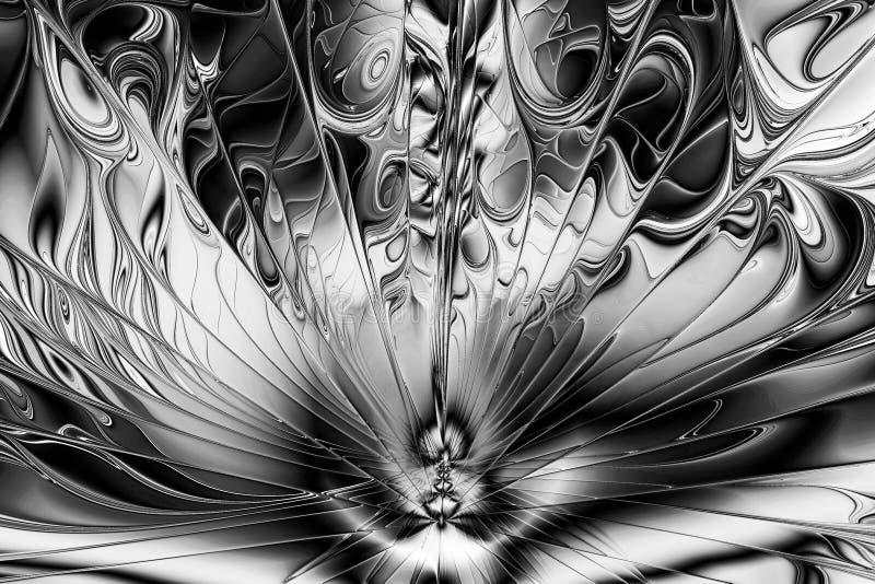 Imagem do Fractal: o teste padrão intrincado Imagem preto e branco ilustração do vetor