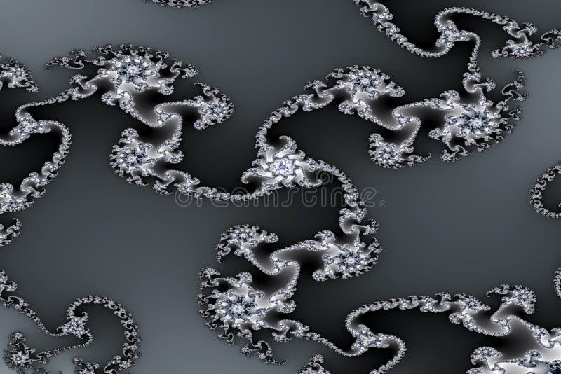 Imagem do Fractal. Ornamento de prata ilustração royalty free