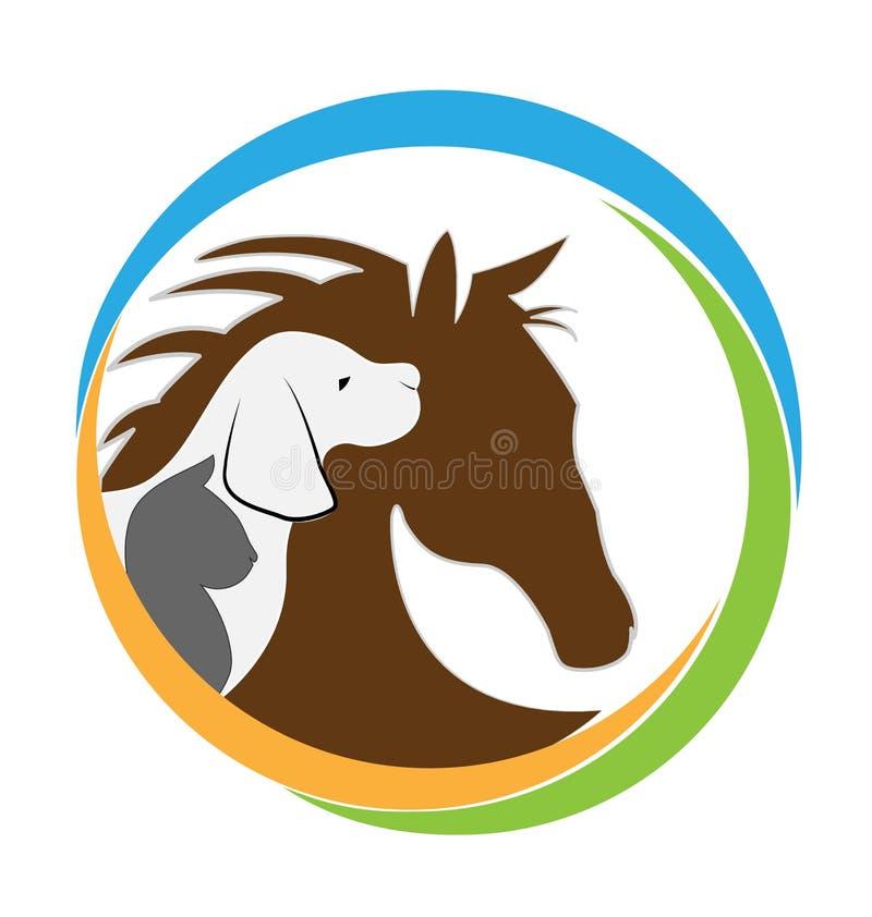 Imagem do gato e do cavalo do cão ilustração royalty free