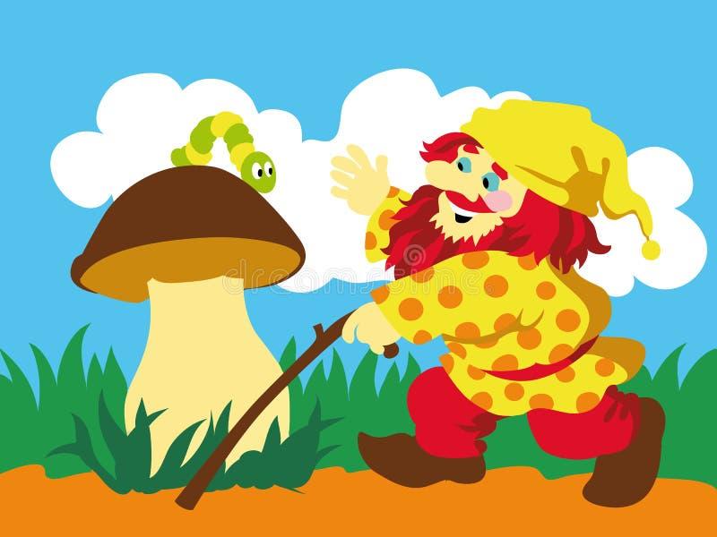 Imagem do gnomo e da lagarta no cogumelo ilustração royalty free